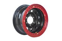 Диск усиленный Тойота Ниссан стальной черный 6x139,7 8xR16 d110 ET-19 с двойным бедлоком (красный)