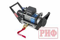 Лебёдка переносная РИФ 8000SR c площадкой в квадрат для фаркопа и проводами (синт. трос)