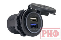 Розетка USB 2.4А, QC 3.0  34x37х54