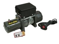 Лебёдка электрическая 12V Electric Winch 6000 lbs 2722 кг (влагозащищенная) 3 контакта, сталь.трос