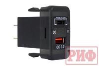 Розетка USB Type C, QC 3.0 с вольтметром для Toyota 40x20