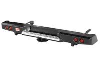 Бампер РИФ задний Toyota Hilux 2005-2014 с квадратом под фаркоп и фонарями, лифт 50 мм