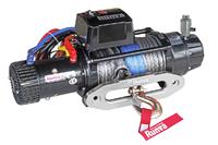 Лебёдка электрическая 24V Runva 9500 lbs 4350 кг влагозащищенная, синтетический трос, пневмороспуск