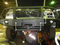 Бампер РИФ передний УАЗ Патриот 2005+ с доп. фарами и защитной дугой (под парктроник)