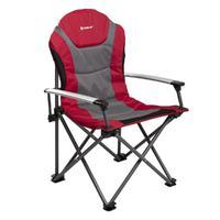 Кресло NISUS складное, алюминиевые подлокотники (серый/красный)