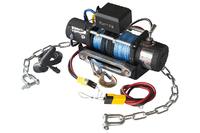 Лебёдка переносная РИФ 9500SR c облегчённой площадкой на цепях и проводами (синт. трос)