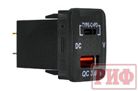 Розетка USB Type C, QC 3.0 с вольтметром для Toyota 32x20