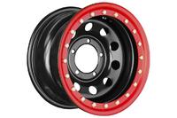 Диск усиленный УАЗ стальной черный 5x139,7 8xR15 d110 ET-24 с псевдо бедлоком (красный)