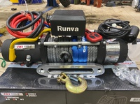 Лебёдка электрическая высокоскоростная 12V Runva 9500 lbs 4350 кг (синтетический трос) + ДУ