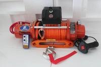 Лебедка автомобильная электрическая Soulik Winch 12000 lbs/5443kg 12v красная, синтетический трос