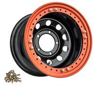 Диск УАЗ стальной черный 5x139,7 10xR15 d110 ET-44 с бедлоком (оранжевый)