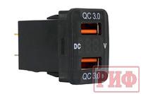 Розетка USB 2 QC 3.0 с вольтметром для Toyota 32x20