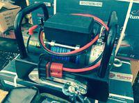 Лебёдка переносная РИФ 9000SD c площадкой на цепях и проводами (в сборе) синт. трос, корот. барабан