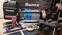 Лебёдка электрическая 12V Runva 12500 lbs 5670 кг (влагозащищенная) синтетический трос с ДУ